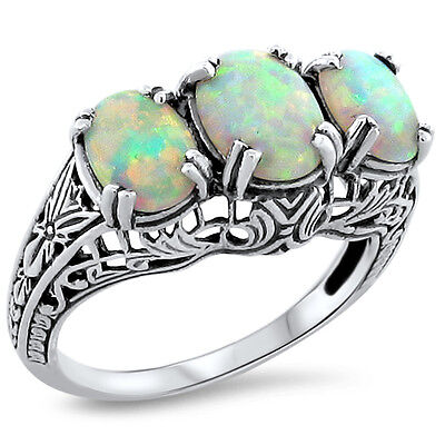ANTIQUE ART DECO STYLE LAB OPAL 925 STERLING SILVER FILIGREE RING Sz 9.25,  #214