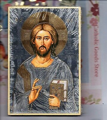 "Christ the all Knowing Italian Gold Foil Mosaic Plaque (4"" x 6"")"