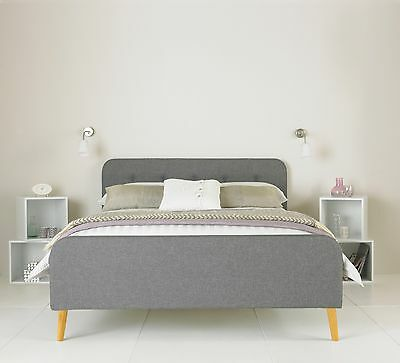 Ercol Grey Retro Upholstered Bed Frame 4FT6 Double 5FT King Size