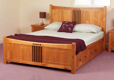 Hereford Oak Drawer Solid Wood Bed Frame 4FT6 Double 5FT King Size 6FT