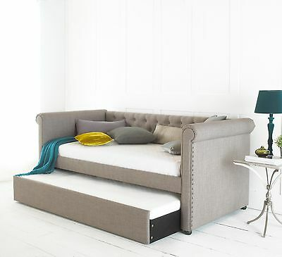 Chesterfield Day/Guest Bed in Upholstered Grey 3FT Single With Pull Out Trundle