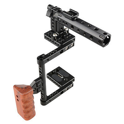 US Ship CAMVATE DSLR Camera Cage Kit Top Handle Wood Grip for Canon 600D 80D