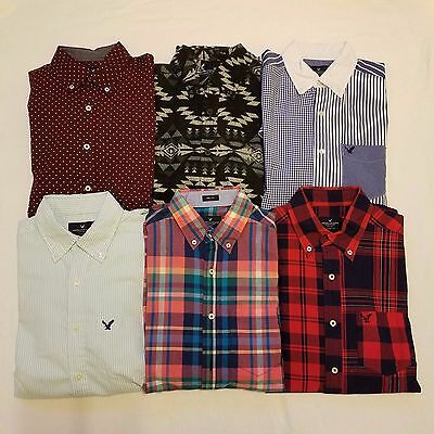 American Eagle A102 Mens Button Down Long Sleeve Shirts Lot of 6 Size XS