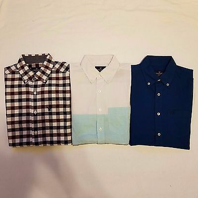 American Eagle A104 Mens Button Down Long Sleeve Shirts Lot of 3 Size XS