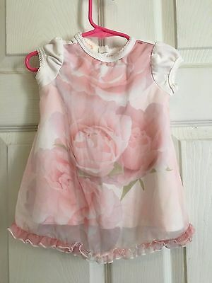 Lovely KATE MACK Baby Girl's Pink and White Floral Dress Size 12 Months