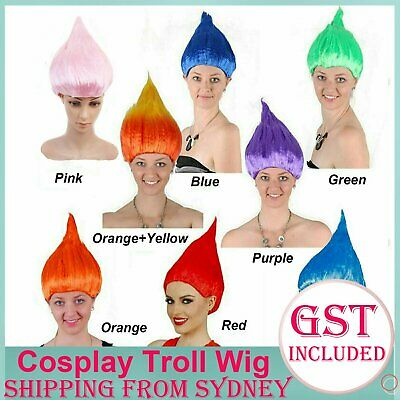 9 Colour Troll Short Wig Flame Wig Cartoon Fancy Dress Red Fluffy Party Hair Cos
