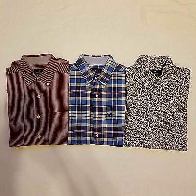 American Eagle A106  Mens Button Down Long Sleeve Shirts Lot of 3 Size XS