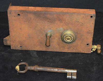 "Antique Vault/Safe Door Lock & Key Double Deep Deadbolt 11"" x 6"""