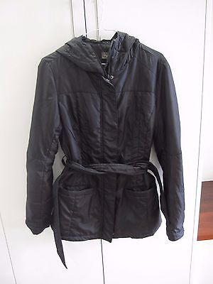 Black Thyme Maternity Puffer Belted Hooded Jacket, Size S