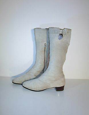 Vintage 'GoGo'Suede Leather Cream Boots 1970s size 8