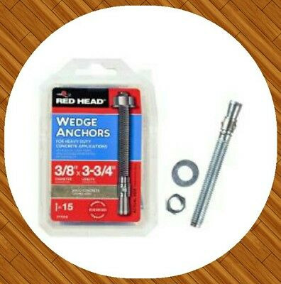 New Red Head 3/8 in. x 3-3/4 in. Concrete Wedge Anchors for solid concrete.