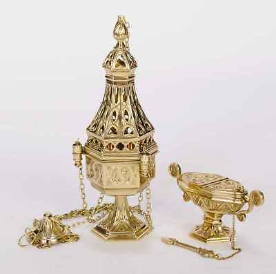 + Nice traditional Censer (Thurible) with Boat & Spoon + 3 piece set +chalice co