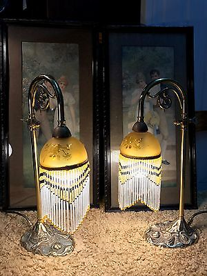 Pair of Antique Style Solid Brass Boudoir Lamps with Beaded Shades