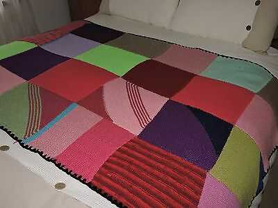 CROCHET KNITTED  Patchwork / Knee Rug /  Blanket / Bed Topper