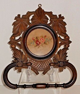 Fine Antique Swiss / Black Forest Carved Hand Towel Holder w/ Needlepoint