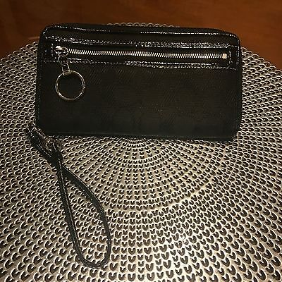Genuine Coach Signature Wallet / Wristlet - Black with hot pink lining
