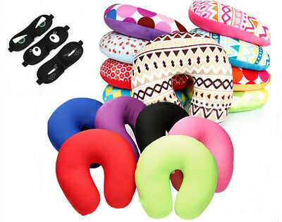Micro Bead Travel Neck Pillow Aeroplane Car Soft Cushion With Popper U Shape
