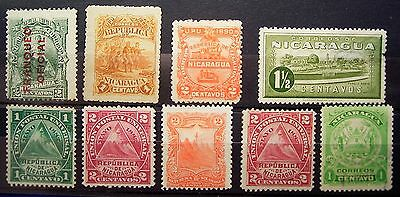 Nicaragua 9 Older Stamp Selection ,... Must Have, Add To Collection