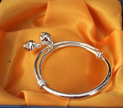 `1 Silver Plated Adjustable Dangle Bells Baby Child Bangle  4cm ID Lovely