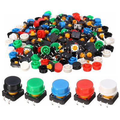 100pcs Tactile Switch Tact Push Button Momentary 5 Color Round Cap 12 x12x 7.3mm