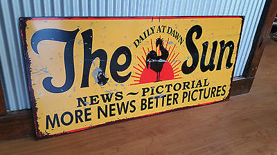 The Sun News Pictorial Metal tin sign shop bar Garage Australian Newspaper