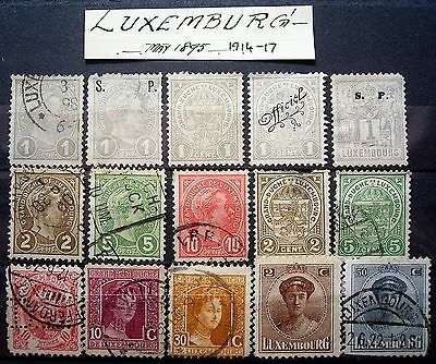 Luxembourg 1895-1917 ... 15 Older Stamps, Excellent For Your Collection