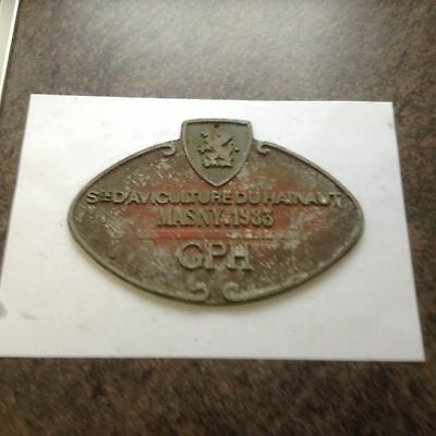 Original Vintage  French Agricultural Cast Metal Award Plaque / Prize