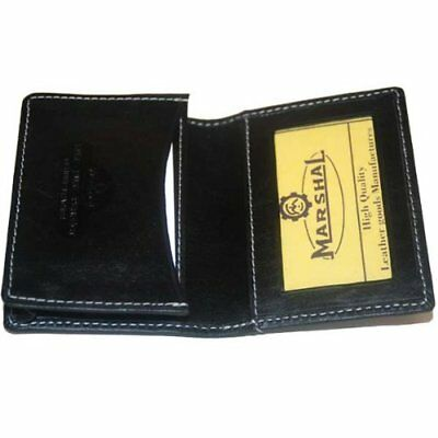 2 Pocket Business Name Card Holder Case Black Leather Wallet Card ID Organizer