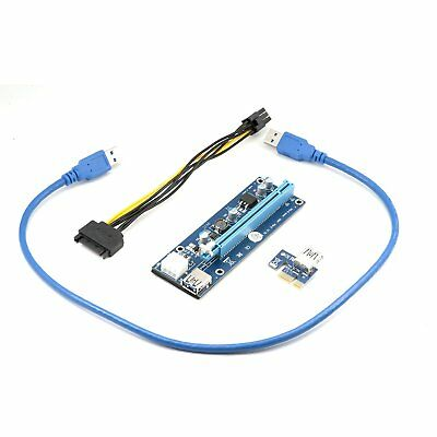 Qumox PCI-E 1x to 16x Powered USB 3.0 Extender Riser Apater 60cm USB3.0 Cable