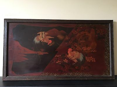 Antique Old Japanese Lacquer Panel Decorated with a Cockerel Scene