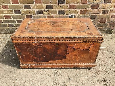 Antique Old Vintage Victorian Edwardian Georgian Studded Trunk Chest