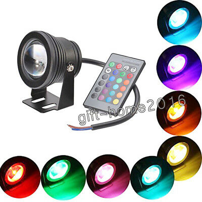 10W LED RGB Garden Swimming Pool Aquarium Lamp Waterproof Remote Control 12v