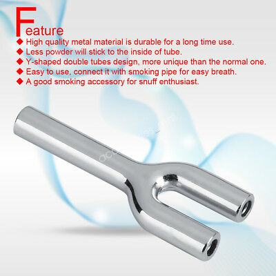 Portable Y-shaped Double Barrel Snuff Straw Nasal Bullet Snorter Sniffer Silver