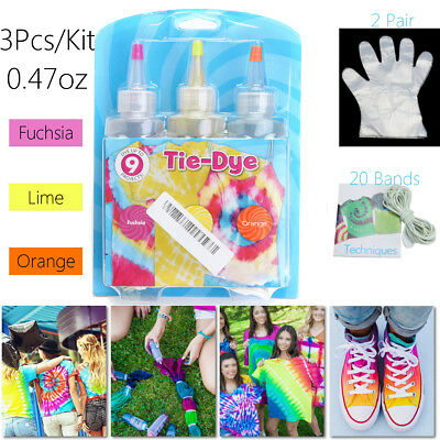 3-Color 40.2g/1.41oz Rubber Tie Dye Kit Of Fabric Creativity Enhancement Gifts