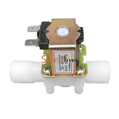 Hot DC 12V Electric Solenoid Valve Magnetic N/C Water Air Inlet Flow Switch 1/2""