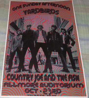 The Yardbirds/jeff Beck 1966 Fillmore Replica Concert Poster W/protective Sleeve