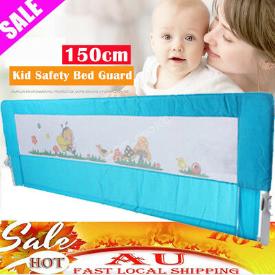 1.5M Blue Child Toddler Infant Bed Rail Safety Protection Guard Folding Bedrail