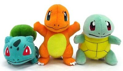 "OFFICIAL TOMY Pokemon X & Y Plush 8"" Licensed - Charmander, Blubasaur, Squirtle"