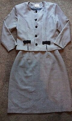 BB By Fibre Trends Houndstooth Corporate Style Work Skirt Suit Size 12 • Office