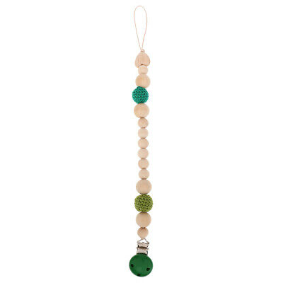 Baby Pacifier Chain Nipple ChainClip Crocheted Wooden Beads