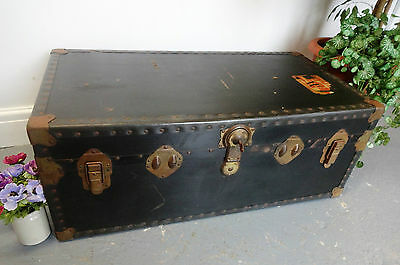 Lovely Large Wooden Canvas Leather Covered Travel Chest Trunk Box Storage