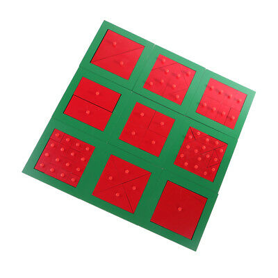 Montessori Fraction Squares Red Knob Board Toy for Kids Early Learning Gift