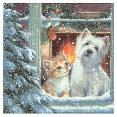Westie & Kitten Window Christmas 33cm Paper Party Napkins | Serviettes 1-120pk