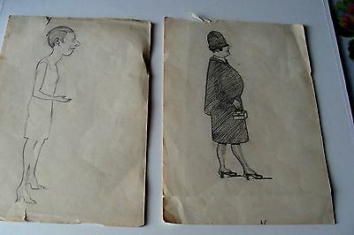 2 x vintage pencil sketches by unknown artist
