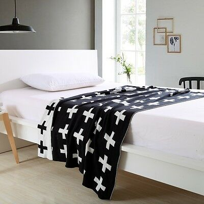 Baby blanket Black White Cross Cotton Knitted Throw kids Blanket Photo props