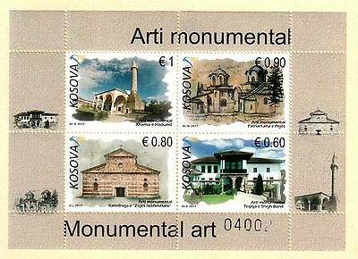 Kosovo Stamps 2017. Monumental Art, Religious. Set Sheet MNH