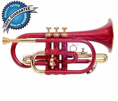 Best Deal  Cornet Professional Red Colored 3V with Hard Case+Mouth Piece Free