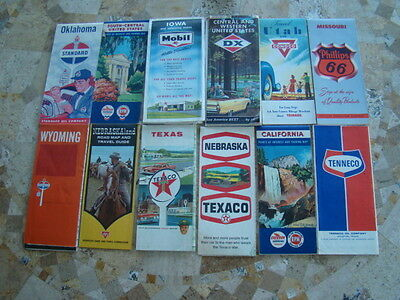 Lot of 12 Gas Service Station Oil Company State  Road Maps