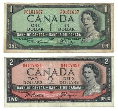 1954 Canada 2 Bank notes Cutting Error $1.00 and $2.00 dollars circulated.