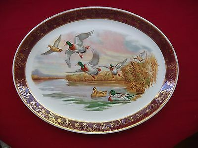 Vintage Weatherby Hanley England Royal Falcon Ware Oval Plate *Flying Ducks